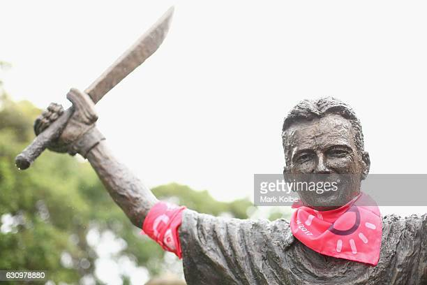 Pink bandana is seen on the SCG Trust's Basil Sellers Sports Sculptures Project sculpture of Syeve Waugh as part of Jane McGrath Day during day three...