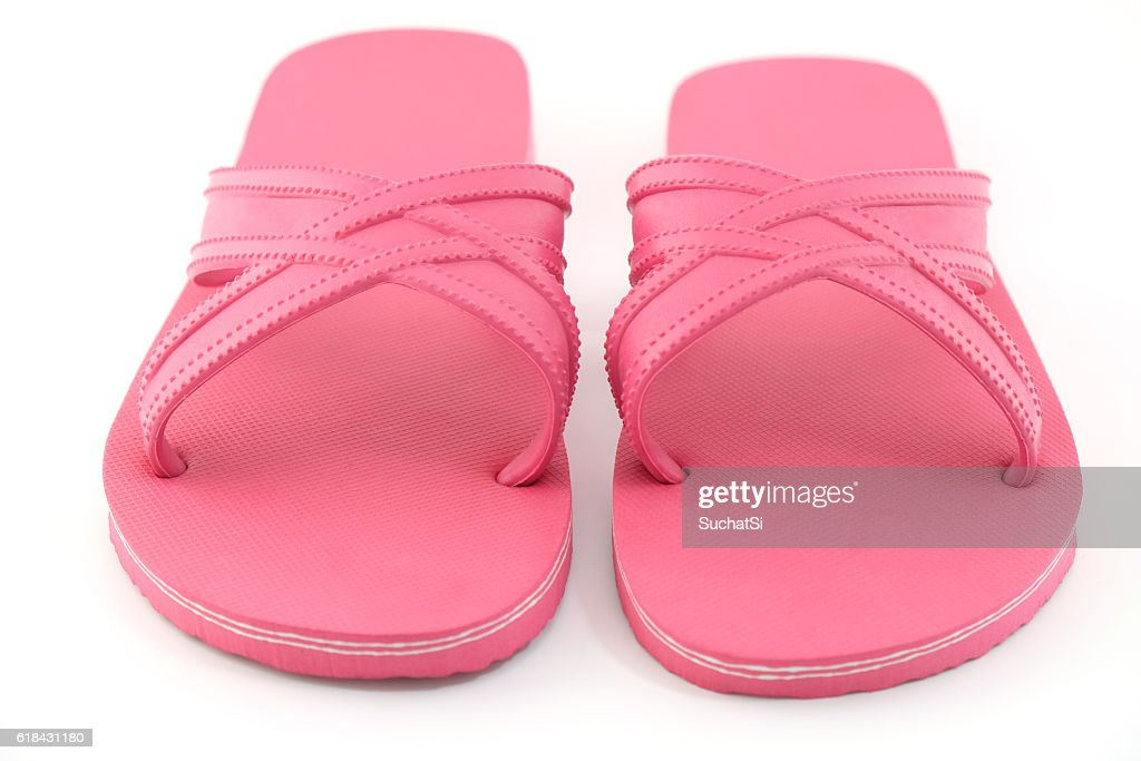 21efe194cf84 pink beach sandals flip flops isolated on white background   Stock Photo