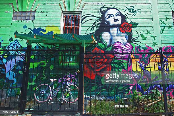 Pink bike behind the fence near painted mural