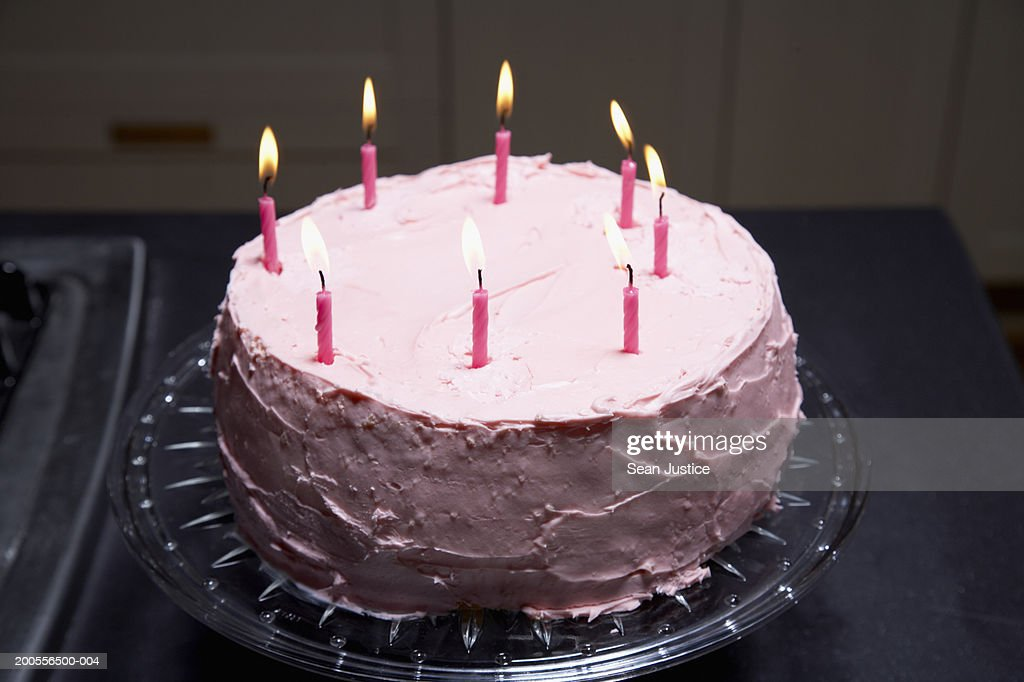 Pink Birthday Cake Elevated View Stock Foto