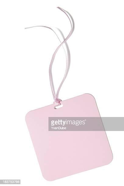 presentes cor-de-rosa em branco ou etiqueta de preço (c/traçado de recorte - cartão de presente - fotografias e filmes do acervo