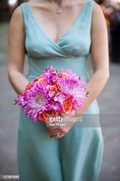 pink bouquet - bridesmaid stock pictures, royalty-free photos & images