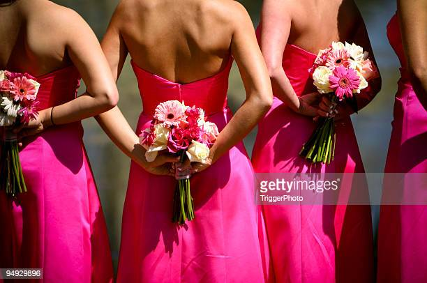 pink bridesmaids wedding dress portraits - bridesmaid stock pictures, royalty-free photos & images