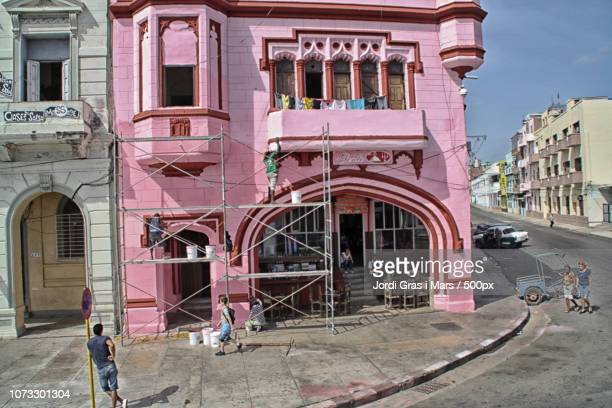 pink building - gras stock pictures, royalty-free photos & images