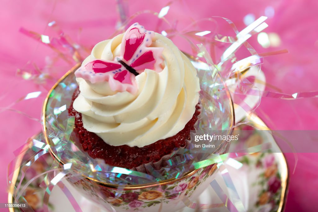 Pink Butterfly Cupcake : Stock Photo