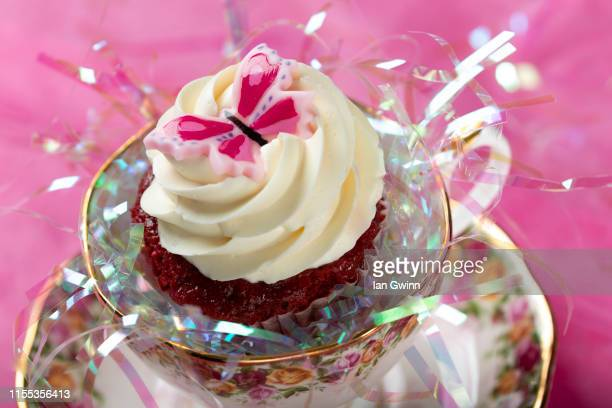 pink butterfly cupcake - ian gwinn stock photos and pictures