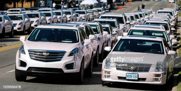 Pink Cadillacs are lined up outside Greater Grace Temple site of soul music icon Aretha Franklin's funeral on August 31 2018 in Detroit Michigan...