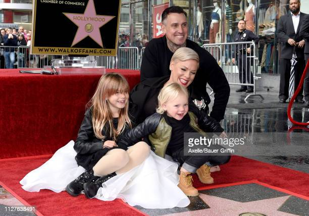 Pink, Carey Hart, Willow Sage Hart and Jameson Moon Hart attend the ceremony honoring Pink with Star on the Hollywood Walk of Fame on February 05,...