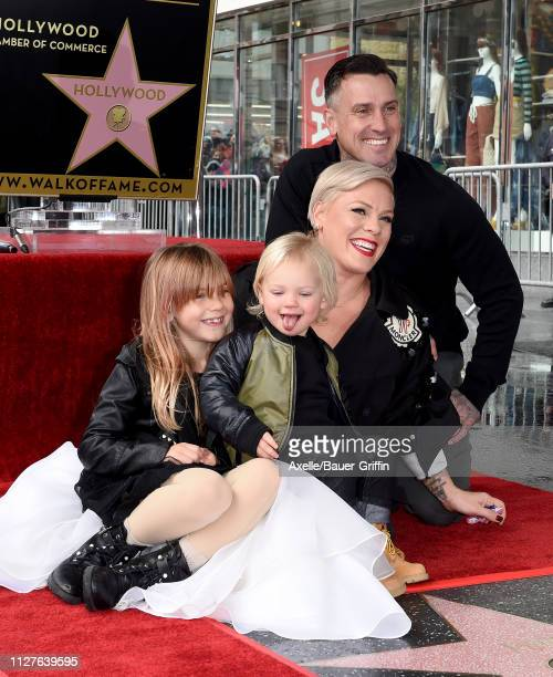 Pink Carey Hart Willow Sage Hart and Jameson Moon Hart attend the ceremony honoring Pink with Star on the Hollywood Walk of Fame on February 05 2019...