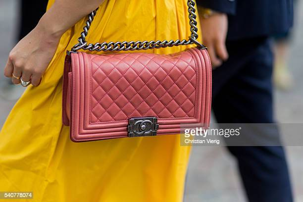 A pink Chanel bag during Pitti Uomo 90 on June 16 in Florence Italy