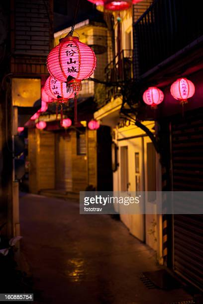 Pink Chinese lantern lighting in old street of Jiufen, Taiwan