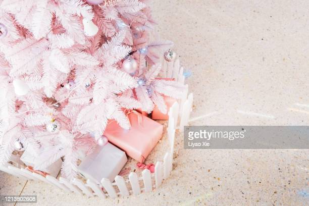 pink christmas tree - liyao xie stock pictures, royalty-free photos & images