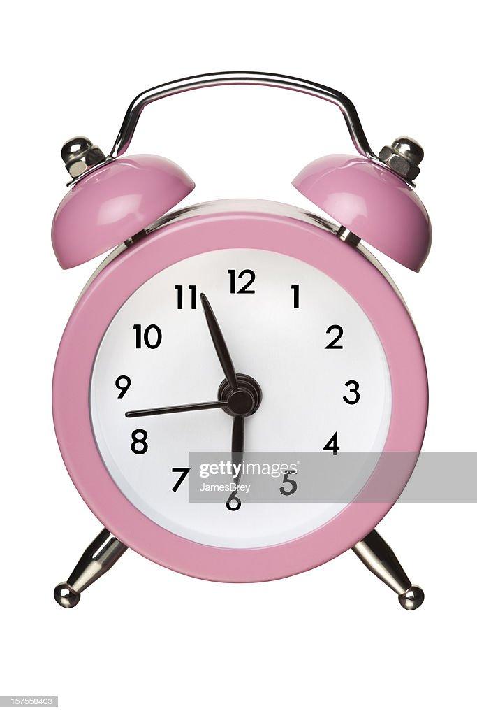 Rosa clássico Bell despertador no branco com Traçado de Recorte : Foto de stock