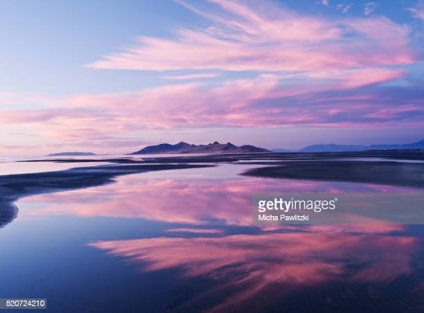 Pink Clouds reflecting in Salt Lake, Utah, USA