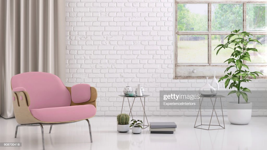 Pink Colored Armchair With Coffee Table Flowers And Blank