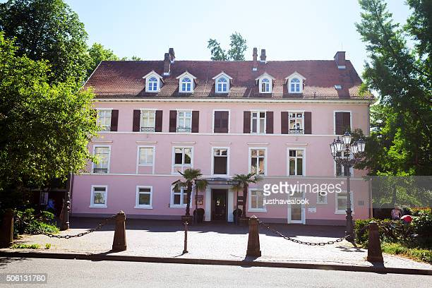 Pink colored building