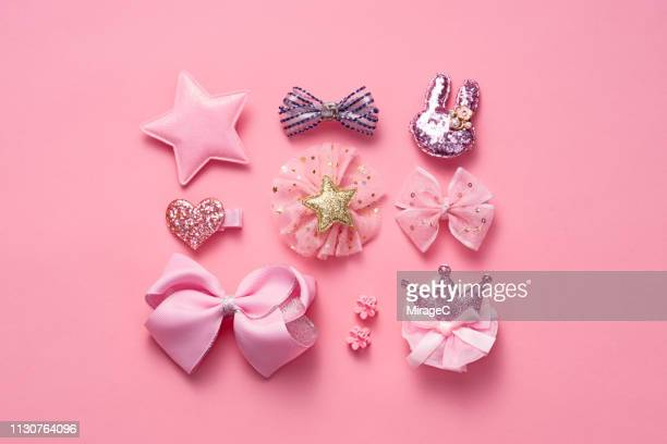 pink colored hair accessory collection - hair bow stock pictures, royalty-free photos & images