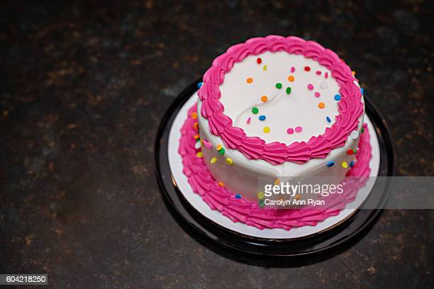 pink colorful birthday cake - birthday cake stock pictures, royalty-free photos & images