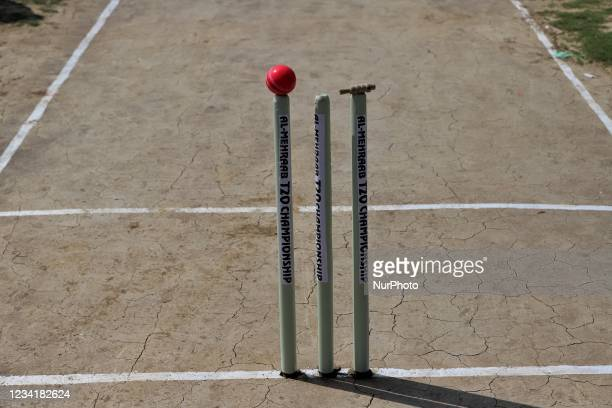 Pink Cricket Ball is kept on the Stumps during drinks break as a Cricket match is being Played in a ground at Nadihal Baramulla, Jammu and Kashmir,...