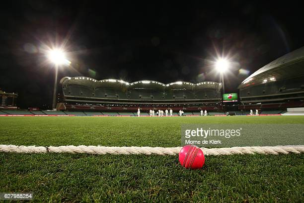 A pink cricket ball is seen lying on the boundary under lights during day two of the Sheffield Shield match between South Australia and New South...