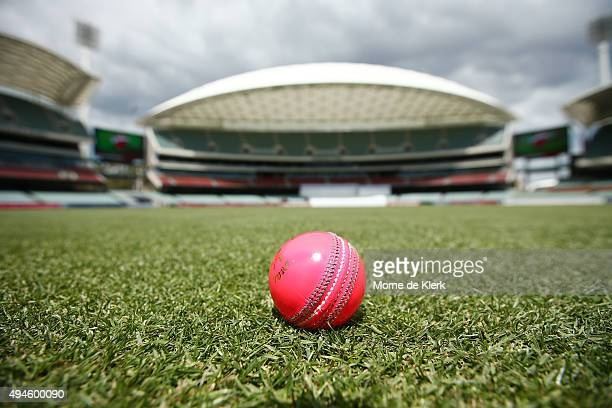 A pink cricket ball to be used in the day night game is seen at the Adelaide Oval during day one of the Sheffield Shield match between South...