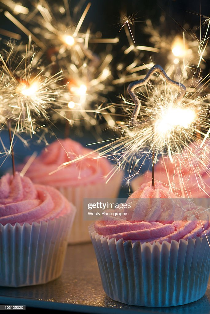 Pink Cup cakes sparks  : Stock Photo