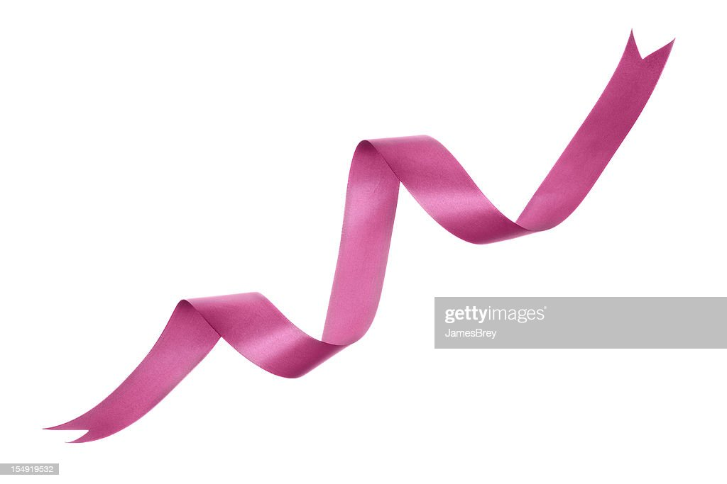 Pink Curly Ribbon on Pure White Background : Stock Photo