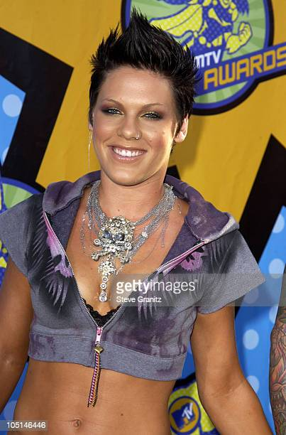 Pink during 2003 MTV Movie Awards Arrivals at The Shrine Auditorium in Los Angeles California United States