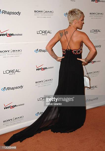 Pink during 2007 Clive Davis PreGRAMMY Awards Party Arrivals at Beverly Hills Hilton in Beverly Hills California United States
