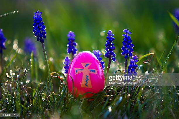 pink easter egg and wildflowers - easter cross stock pictures, royalty-free photos & images