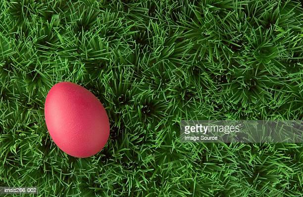 Pink easter egg on grass