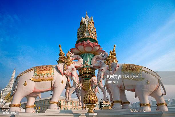 Pink elephants statue at Sanam Luang, Bangkok