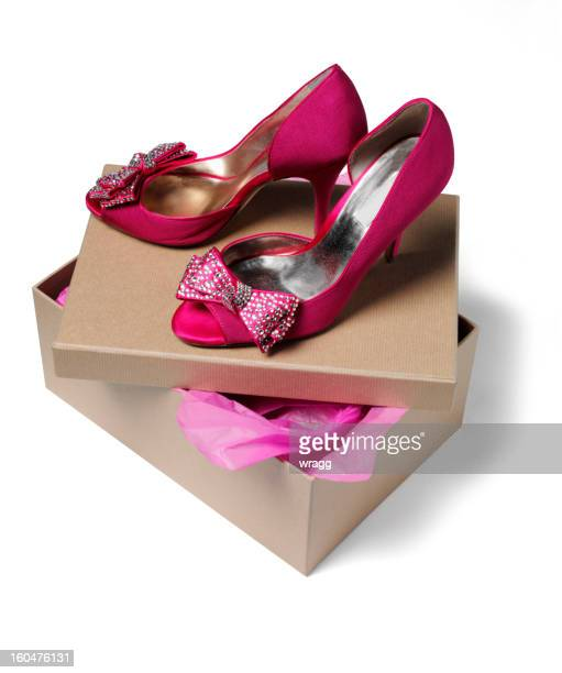 pink evening shoes on a shoe box - shoe box stock pictures, royalty-free photos & images