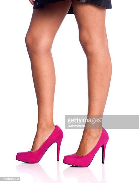 pink female shoes - leg show stock pictures, royalty-free photos & images