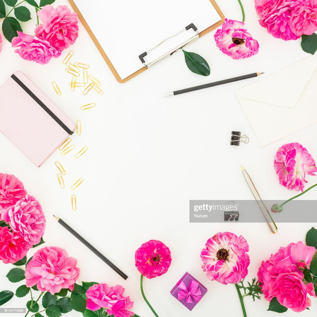 Pink Feminine Workspace With Clipboard Notebook Purple Roses And