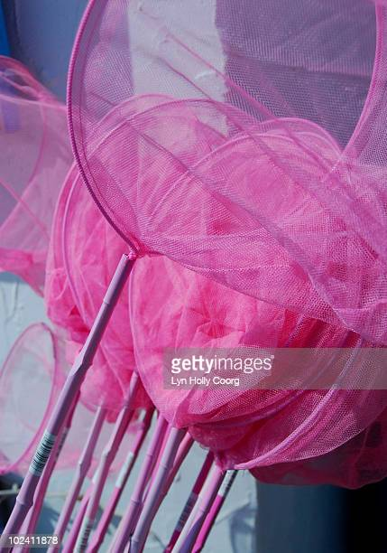 pink fishing nets - lyn holly coorg stock photos and pictures