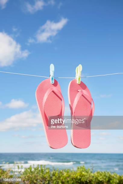 Pink flip-flops hanging on clothesline against sea and sky