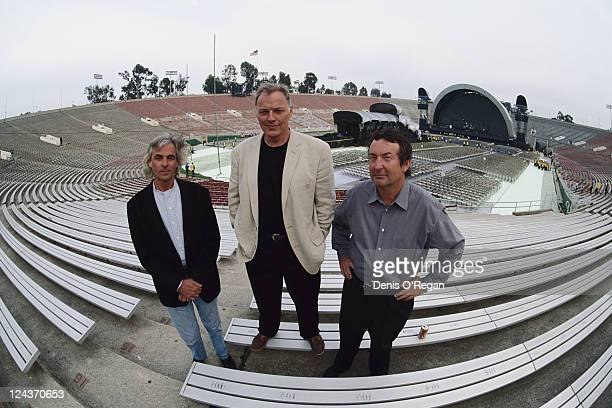 Pink Floyd at the Rose Bowl stadium in Pasadena California during the group's Division Bell Tour 16th17th April 1994 Left to right keyboard player...