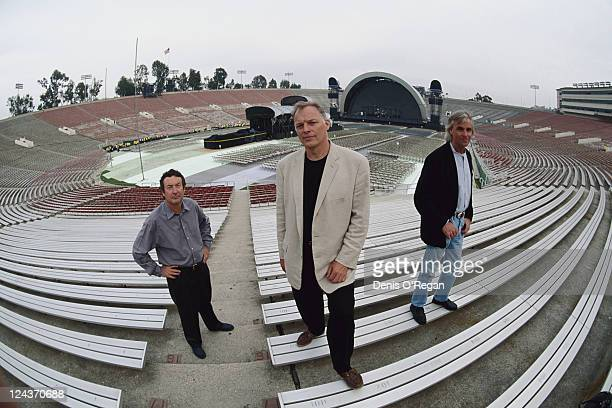 Pink Floyd at the Rose Bowl stadium in Pasadena California during the group's Division Bell Tour 16th17th April 1994 Left to right drummer Nick Mason...