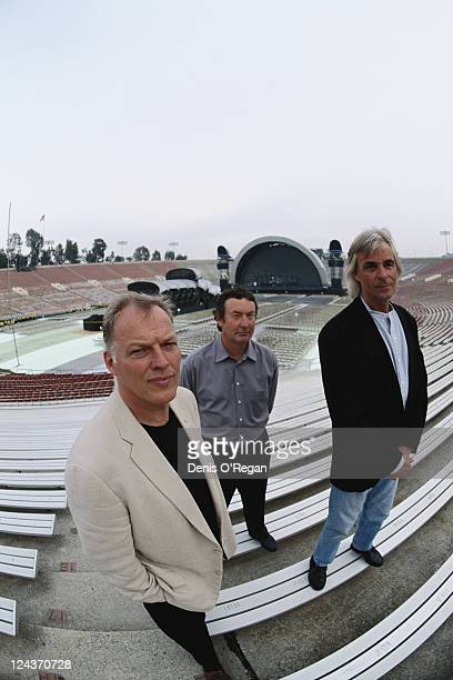 Pink Floyd at the Rose Bowl stadium in Pasadena California during the group's Division Bell Tour 16th17th April 1994 Left to right guitarist David...