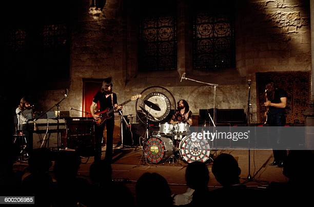 Pink Floyd during a concert given on June 16th 1971 to the abbey of Royaumont