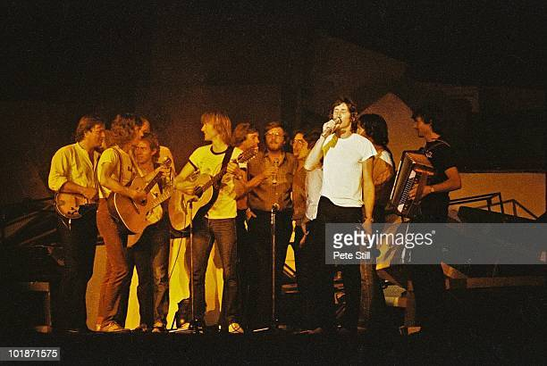 Pink Floyd perform on stage at Earls Court Arena on 'The Wall' tour on August 7th 1980 in London England David Gilmour and Roger Waters are pictured...