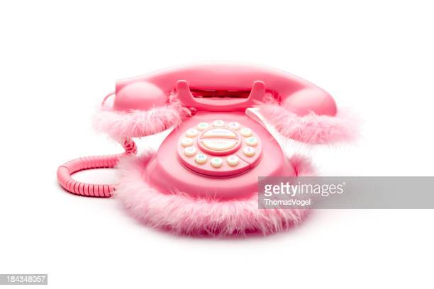 Pink fluffy retro telephone