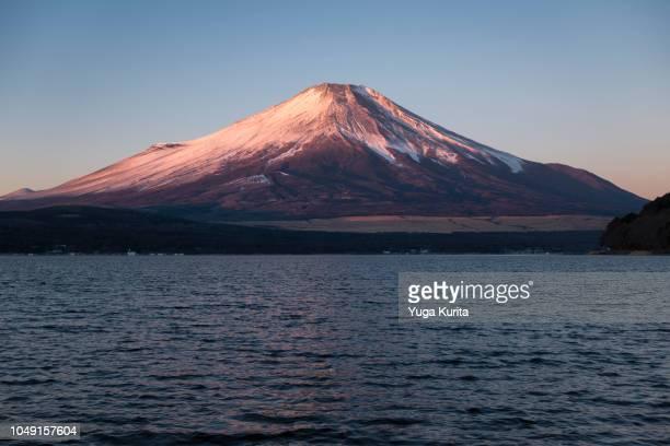 Pink Fuji over Lake Yamanaka