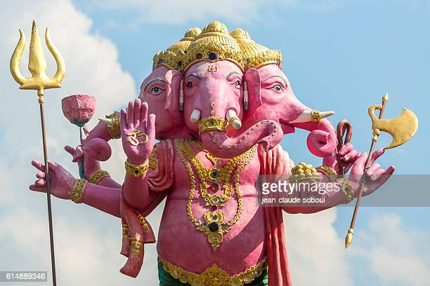 pink ganesha in a temple (thailand) - ganesha stock photos and pictures