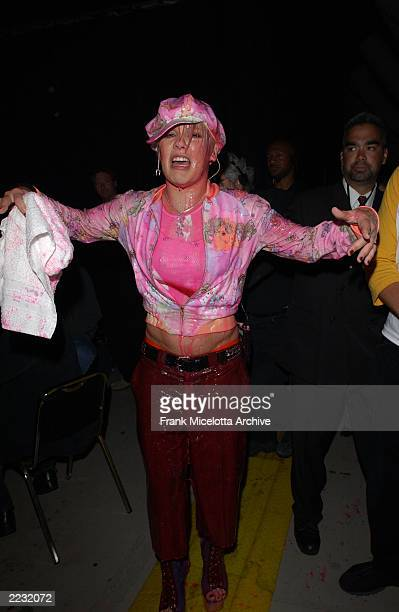 Pink gets slimed on the 15th Annual Nickelodeon Kid's Choice Awards at The Barker Hanger in Santa Monica Ca 4/20/02 Photo by Frank...