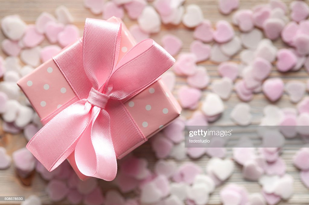 Pink gift box on abstract background : Stock Photo