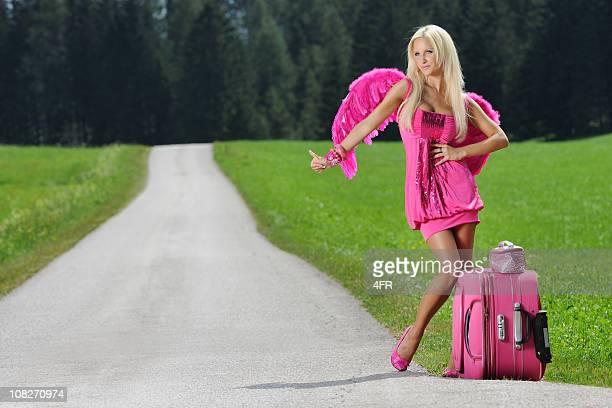 Pink Glamour Angel Hitchhiking - Sexy Pin-Up (XXXL)