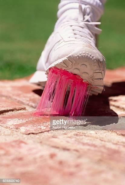 Pink Gum Stuck to Running Shoe