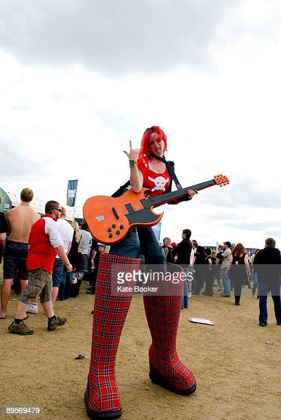 Pink haired Lady from Guitar Hero on second day of Sonisphere at Knebworth House on August 2 2009 in Stevenage England
